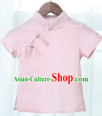 Chinese Style Shirt Min Guo Student Dress Girl Female Kids Show Costume Stage Clothes Pink