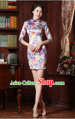 Chinese Traditional One Piece Dress Bracelet sleeve Three Quarter Sleeves Qi Pao Cheongsam Styel Short Sleeves Chinese Traditional Clothes Summer