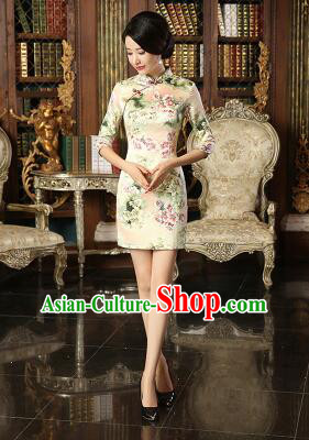 Chinese Traditional One Piece Dress Silk Bracelet sleeve Three Quarter Sleeves Qi Pao Cheongsam Styel Short Sleeves Chinese Traditional Clothes