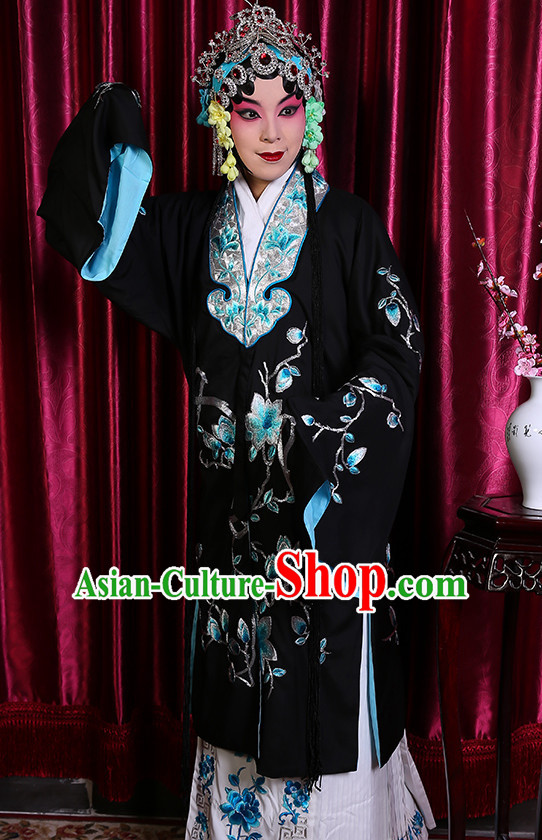 Black Chinese Classical Beijing Opera Peking Opera Hua Dan Costumes Embroidered Robe