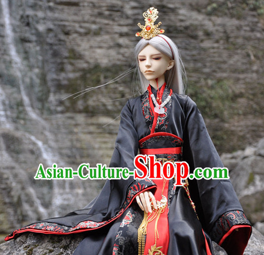 Ancient Chinese Prince Emperor Hanfu Costumes and Headwear Complete Set for Men Boys Adults Kids