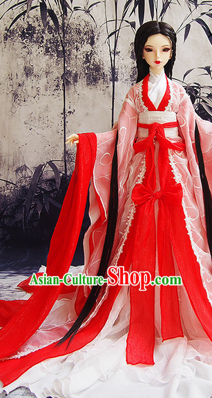 Ancient Chinese Red Princess Empress Queen Costumes and Hair Jewelry Complete Set for Women