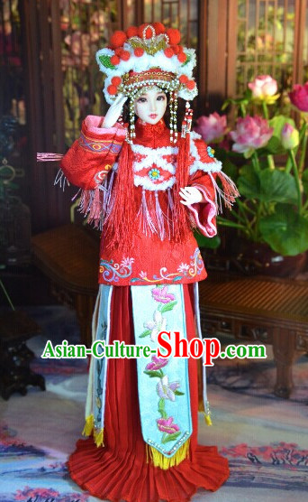 Ancient Chinese Empress Princess Queen Opera Clothing and Hair Accessories Complete Set for Women
