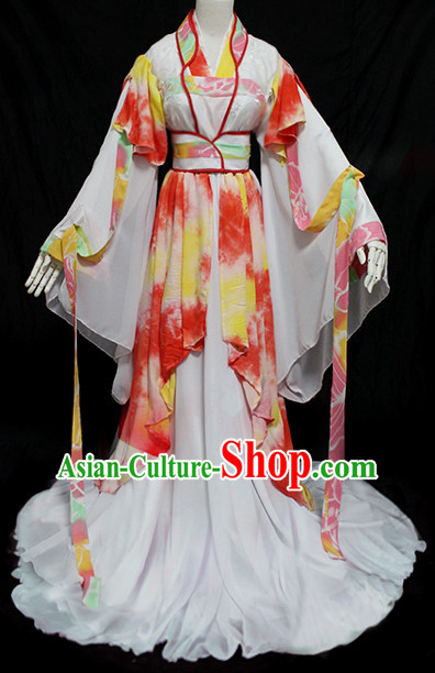 Chinese Ancient Princess Clothing and Headpieces Complete Set for Women Girls Adults Children