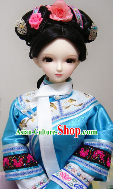 Qing Dynasty Chinese Black Long Hair Wigs and Headpieces for Women