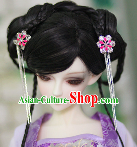 Ancient Chinese Style Princess Black Hair Wigs and Accessories for Women Girls Adults Kids