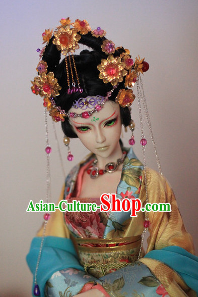 Ancient Chinese Style Princess Empress Queen Black Hair Wigs and Accessories for Women Girls Adults Kids