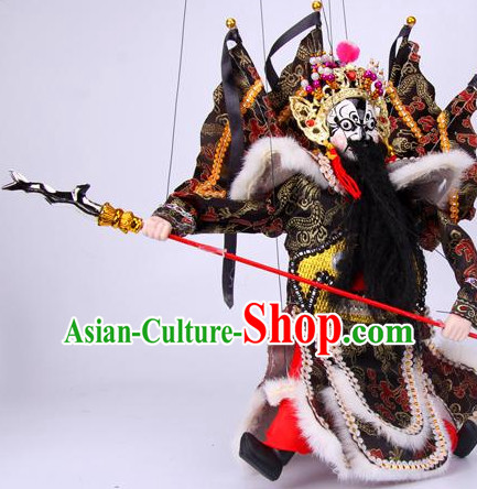 Top Traditional Chinese Ancient Handmade Zhang Fei Hand Marionette Puppet Hand Puppets