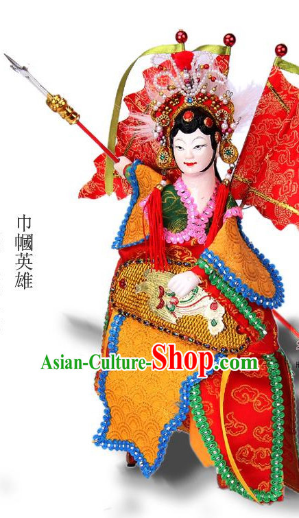 Traditional Chinese Handmade Mu Guiying Heroine Glove Puppet String Puppet Hand Puppets Hand Marionette Puppet Arts Collectibles