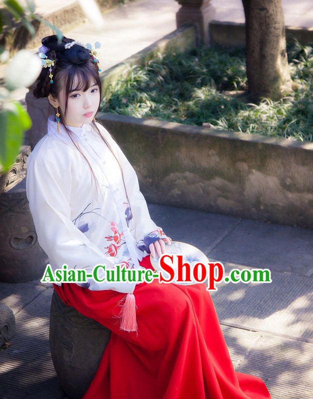 Ancient Chinese Han Fu Garment Top and Bottom Clothing Complete Set for Women or Girls