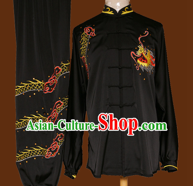 Top Mandarin Tai Chi Taiji Kung Fu Martial Arts Competition Uniform Dresses Suits Outfits for Adults
