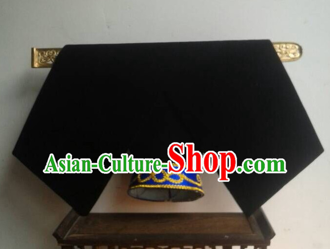 Handmade Ancient Traditional Chinese Embroidered Manchu Hat Oriental Hats Asian Fashion