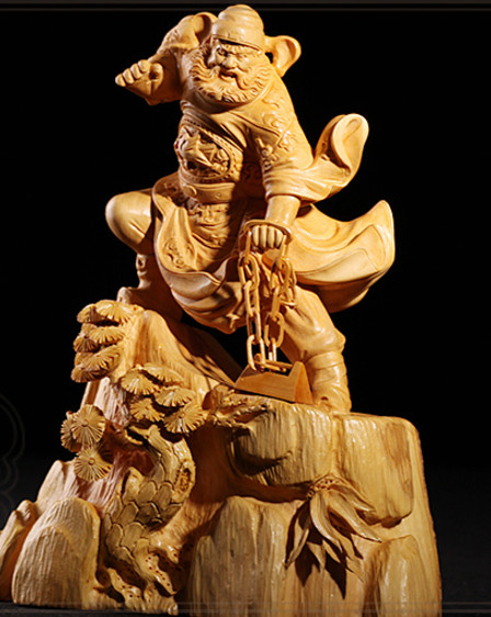 Chinese Classical Hands Carved Wooden Sculptures of Zhong Kui