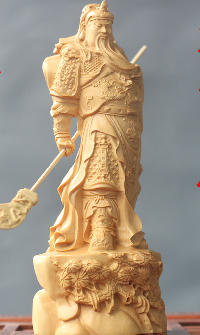 Chinese Classical Hands Carved Wooden Sculptures of Guan Gong