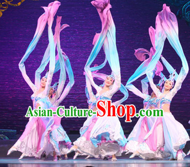 Ancient Chinese Classical Long Sleeves Dance Costumes and Headdress Complete Set for Women or Girls