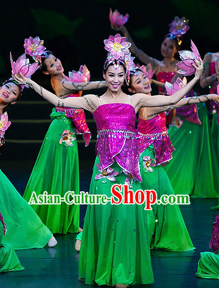 Chinese Classic Lotus Flower Dance Costumes and Headdress Complete Set for Women