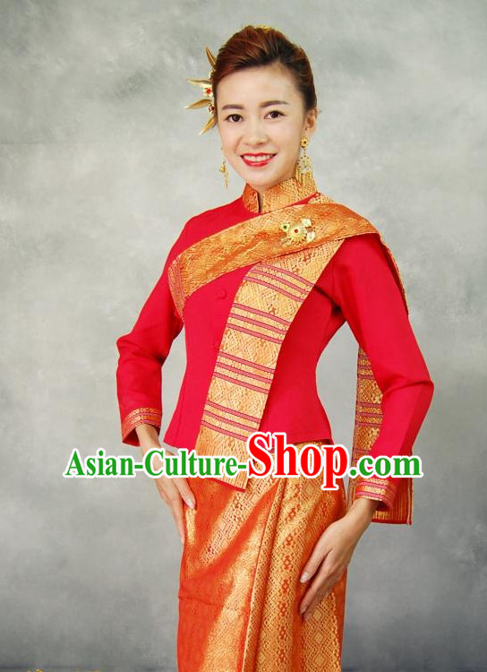 Red Traditional National Thai Dress Thai Traditional Dress Dresses Wedding Dress online for Sale Thai Clothing Thailand Clothes Complete Set for Women Girls Adults Youth Kids