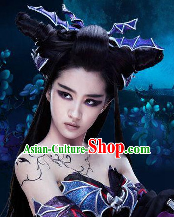 Ancient Chinese Fairy Black Long Wigs and Hair Jewelry Hairpieces