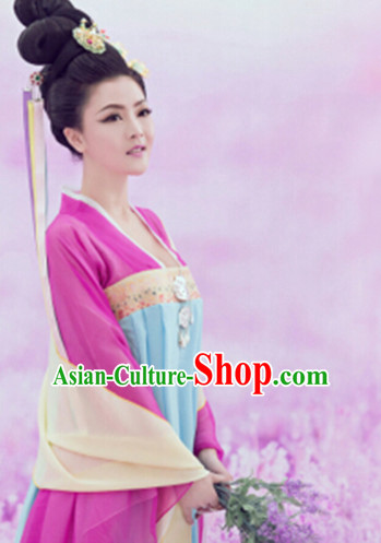 Asian Chinese Tang Dynasty Lady Hanfu Dress Costume Clothing Oriental Dress Chinese Robes Kimono and Hair Accessories Complete Set for Women Girls Adults Children
