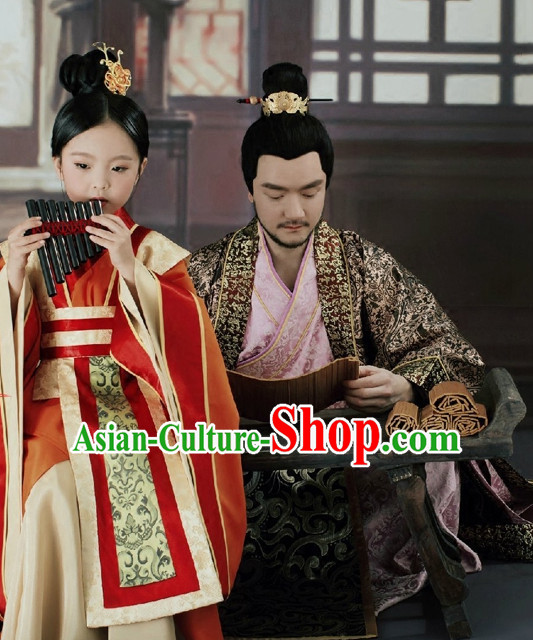 Asian Chinese Princess Hanfu Dress Costume Clothing Oriental Dress Chinese Robes Kimono and Hair Accessories Complete Set for Women Girls Adults Children