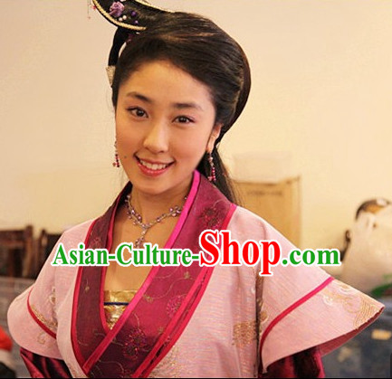 Chinese Ancient Type of Black Wigs and Hair Clips for Women