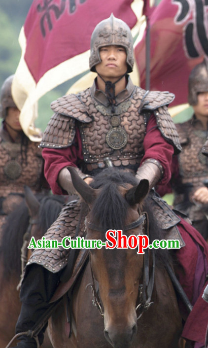 Asian Chinese Traditional Lamellar Body Armor Costumes Complete Set for Men or Boys