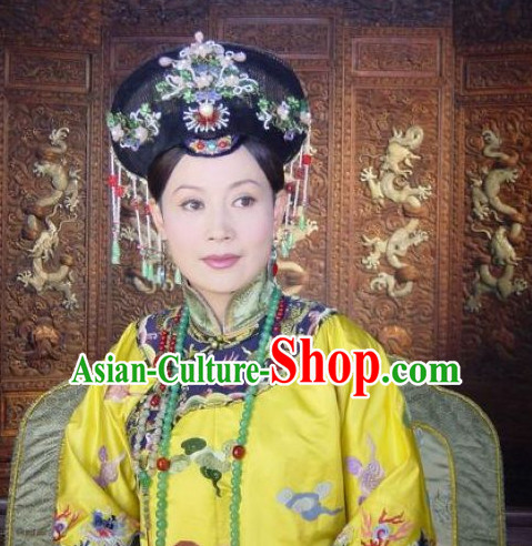 Qing Dynasty Imperial Palace Traditional Chinese Empress Style Black Long Wig Wigs and Hair Accessories for Women Girls