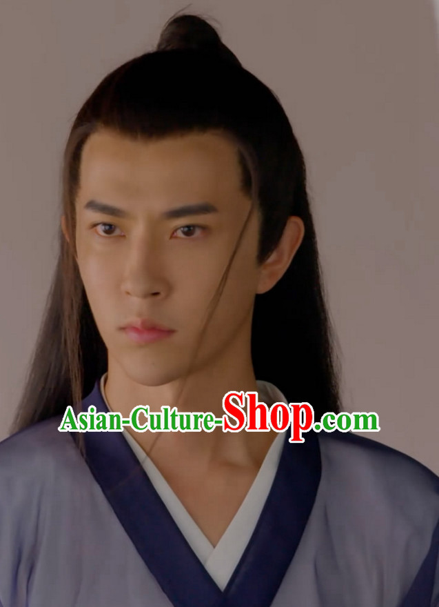 Ancient Chinese Traditional Style Long Black Hair Wigs for Young Men