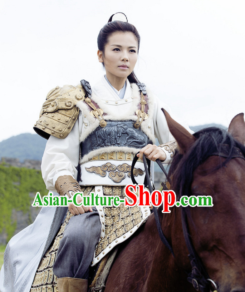 Ancient Chinese Style Female General Armor Dress Authentic Clothes Culture Costume Han Dresses Traditional National Dress Clothing and Headdress Complete Set