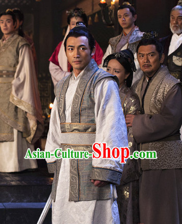 Ancient Chinese Style Kung Fu Master Dress Authentic Clothes Culture Costume Han Dresses Traditional National Dress Clothing and Headdress Complete Set
