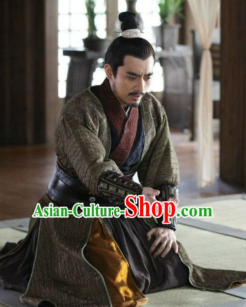 Ancient Chinese Style General Costume Dress Authentic Clothes Culture Han Dresses Traditional National Dress Clothing and Headdress Complete Set