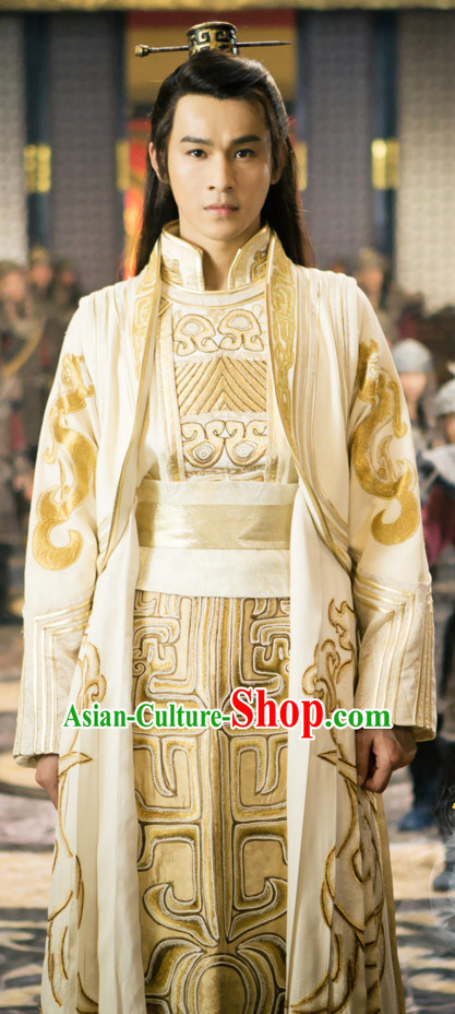 Ancient Chinese Style Emperor Costumes Dress Authentic Clothes Culture Han Dresses Traditional National Dress Clothing and Headpieces Complete Set for Men