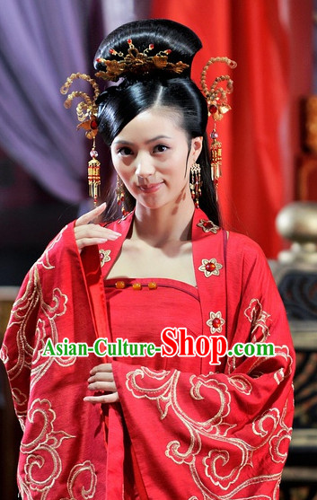 Ancient Chinese Style Palace Princess Black Long Wigs and Headwear Set