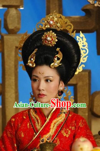 Ancient Chinese Style Palace Empress Black Long Wigs and Headwear Set