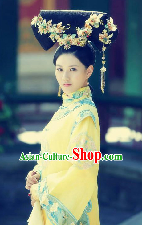 Traditional Chinese Qing Dynasty Imperial Palace Princess Black Wigs and Hair Accessories Complete Set