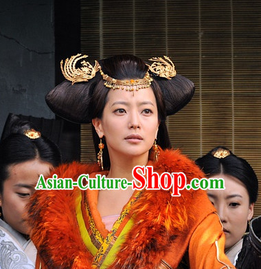 Traditional Chinese Princess Ancient Style Black Long Wigs and Hair Accessories Complete Set
