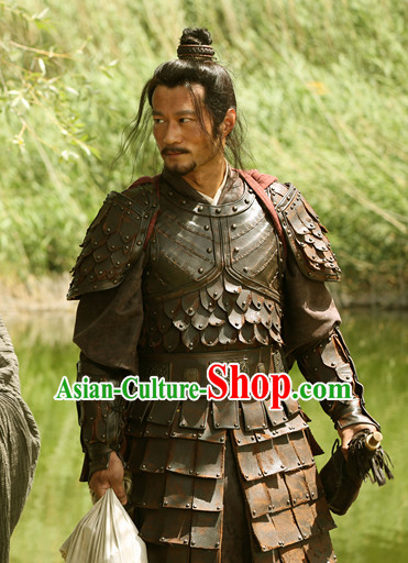Traditional Chinese Ancient Style Wuxia Fighter Armor Costumes Clothing and Helmet Complete Set for Men