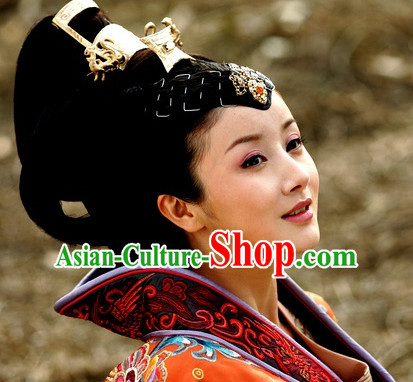 Chinese Traditional Style Princess Black Wigs and Headpieces Hairpieces Hair Jewelry for Women