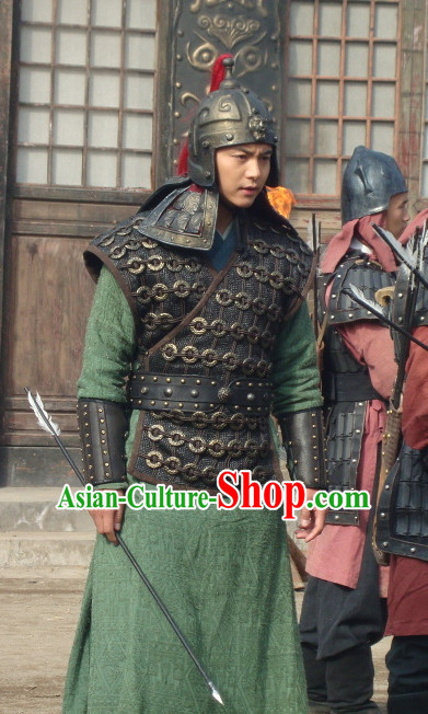 Traditional Chinese Ancient General Samural Body Armor Men Suit and Helmet Complete Set