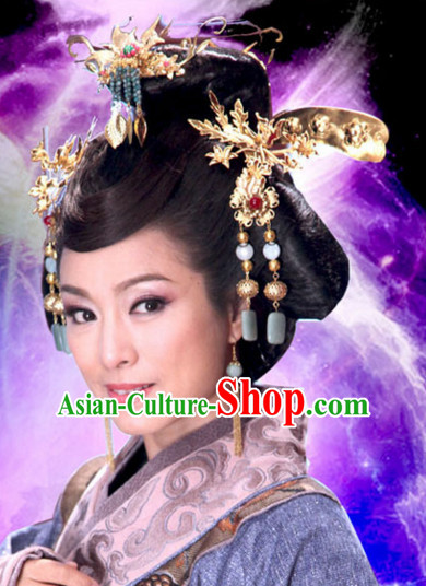 Ancient Chinese Traditional Style Queen Hair Jewelry Headpieces Set