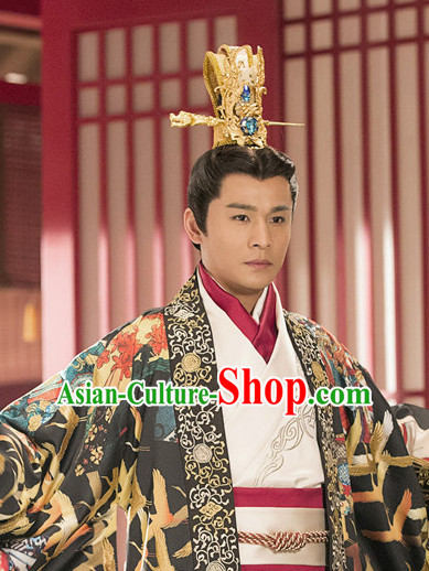 Ancient Chinese Traditional Style Prince Hair Jewelry Headpieces Coronet Set