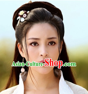 Chinese Traditional Black Female Long Wig and Hair Sticks Hair Ornaments Chopsticks Gold Hair Pins Hairsticks Oriental Asian Head Jewellery Hair Clips Hair pIeces Hair Style