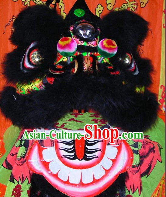 Supreme Chinese 100_ Natural Long Wool Fut San Lion Dance Costumes Complete Set