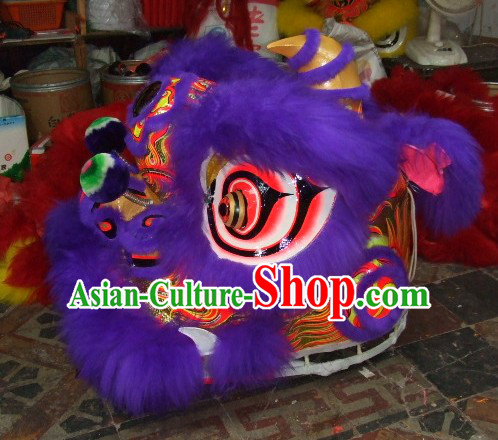 Top Purple Chinese Classic 100_ Natural Long Wool Fut San Style Lion Dance Costumes Complete Set