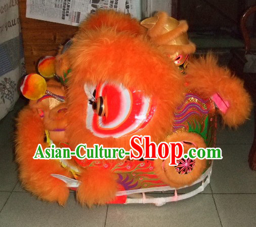 Top Orange Chinese Classic 100_ Natural Long Wool Fut San Style Lion Dance Costumes Complete Set
