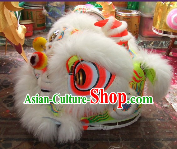 Top White 100_ Natural Long Wool Chinese Traditional Futsan Style Lion Dancing Uniform Complete Set