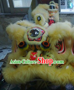 Top Chinese Classical 100_ Natural Long Wool Fut San Lion Dance Costume Complete Set
