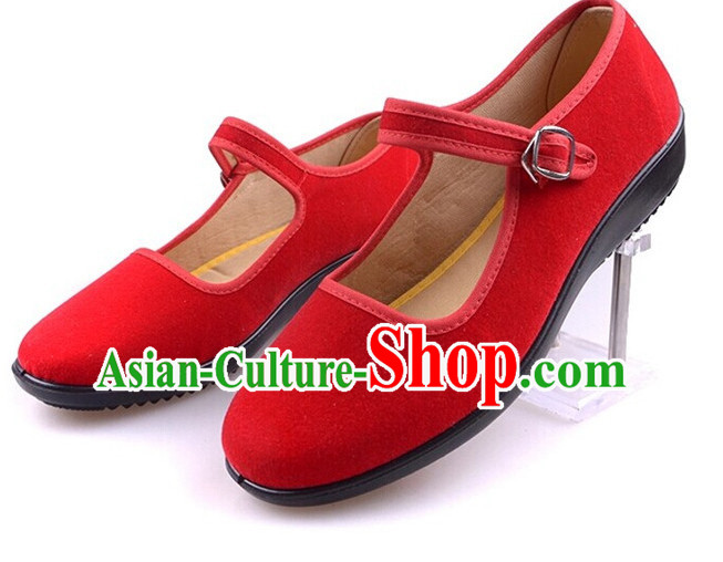 Top Red Chinese Traditional Tai Chi Shoes Kung Fu Shoes Martial Arts Shoes for Women