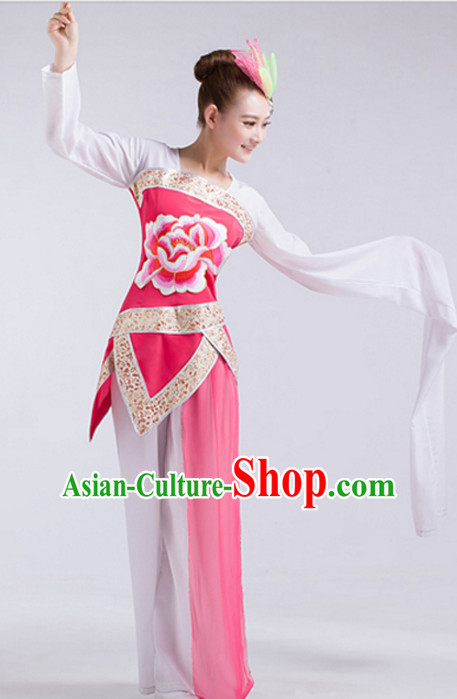 Water Sleeve Chinese Classical Dance Costumes and Headdress Complete Set for Children Girls