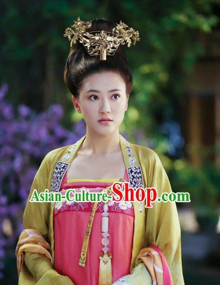 Ancient Chinese Tang Dynasty Princess Black Wigs and Hair Accessories for Women
